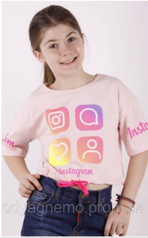 Футболка Instagram для девочек, 6/7-13/14 лет. Артикул: 11061-персик