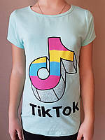 Футболка Tik Tok для девочек, 6/7-13/14 лет. Артикул: 11065-бирюзовый