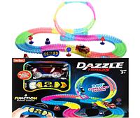 DazzleTracks 187 деталей, Гибкая игрушечная дорога,одна машинка с пультом дистанционного управления