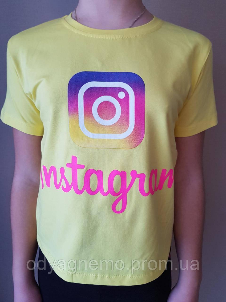 Футболка Instagram для девочек, 10-13 лет. Артикул: 194-1201-желтая