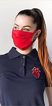 Медицинская многоразовая двухслойная маска красная