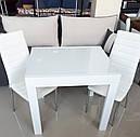 Стол обеденный Слайдер Белый со стеклом Ультрабелый, 81,5(+81,5)*67см, фото 2