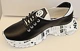Кроссовки черные кожаные женские на толстой подошве от производителя модель ЛИ113-2, фото 2