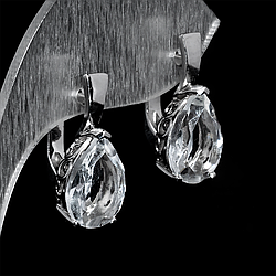 Серебряные серьги с горным хрусталем, 1296СГ