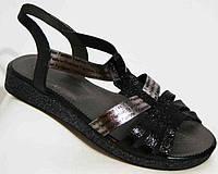 Кожаные женские босоножки черные (36-42 размеры) MD0127