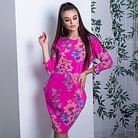 Женское платье галифе 4872 Италия с цветочным принтом розовое
