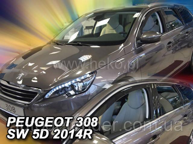 Дефлекторы окон (вставные!) ветровики Peugeot 308 II 2014-2021 SW 4шт., HEKO, 26155