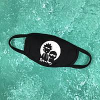 Маска защитная тканевая с рисунком для лица City-A Бафф K-Pop Рик и Морти Черная (city22)