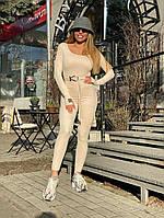 Комбинезон Doratti Oliagarho облегающий модный из замши со съемным поясом Ddor2173