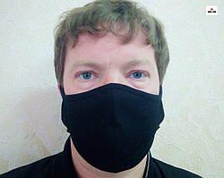 Маска защитная на лицо многоразовая 2-х слойная черная однотонная 10 шт.