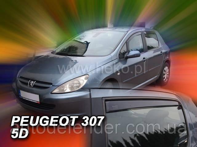 Дефлекторы окон (вставные!) ветровики Peugeot 307 2001-2007 5D 4шт. Hatchback, HEKO, 26119