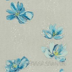 Щільні паперові шпалери 0,53*10,05 Еко блакитний квітка