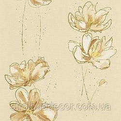 Щільні паперові шпалери 0,53*10,05 Еко бежевий квітка