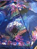 Женский мини зонт механика 8 спиц  цвет синий рисунок цветы, фото 3