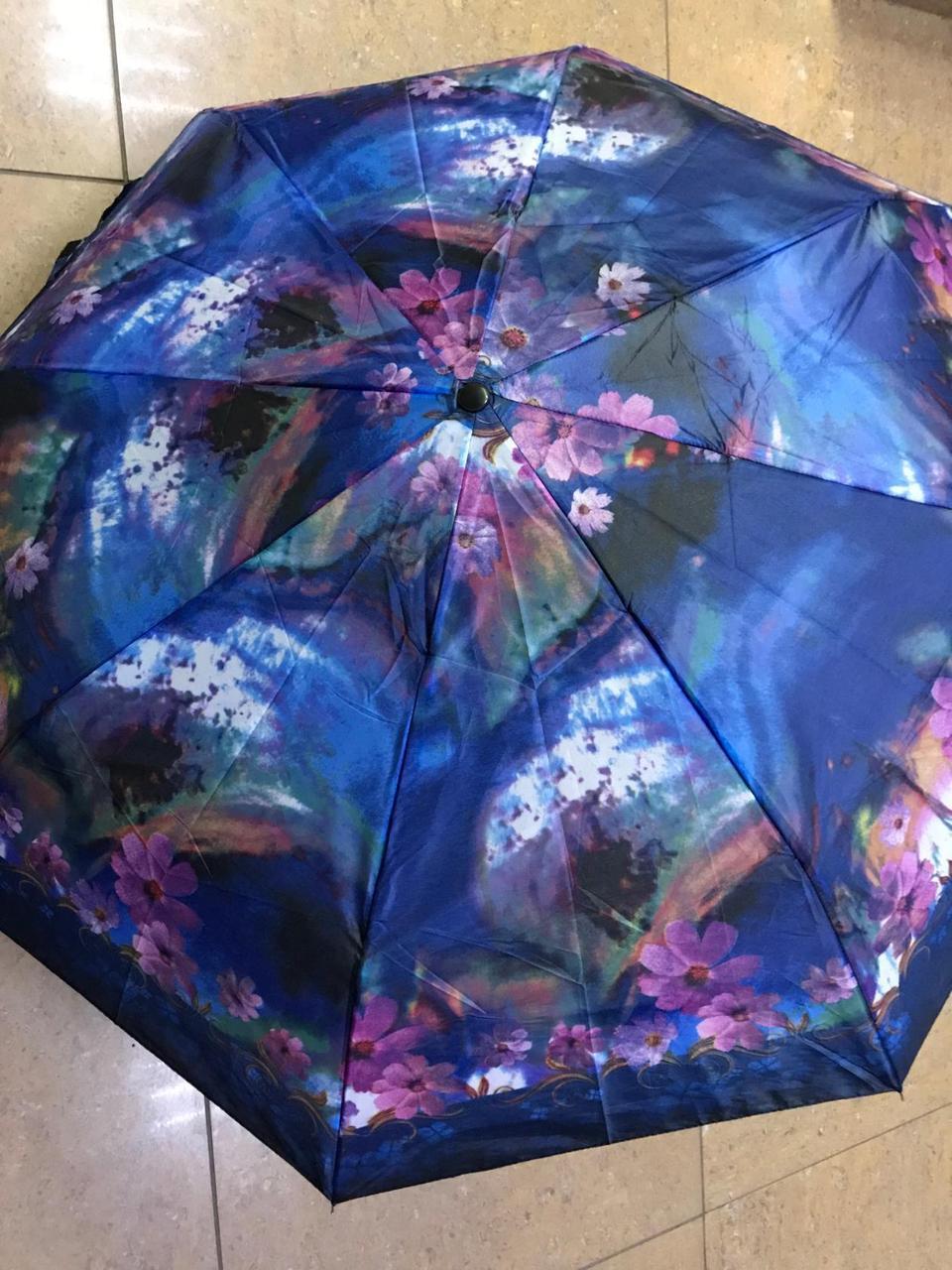 Женский мини зонт механика 8 спиц  цвет синий рисунок цветы
