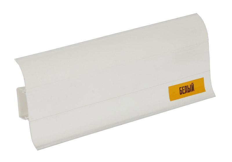 """Плинтус Идеал """"Комфорт """"55мм белый 001,пластиковый с кабель каналом,мягкими краями."""