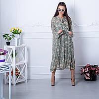 Женское шифоновое платье двойка  макси 10267 зеленое, размер L/XL