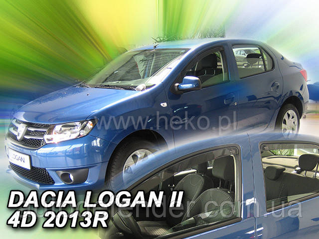 Дефлекторы окон (вставные!) ветровики Renault Logan II 2013-2021 4D sedan 4шт., HEKO, 13112