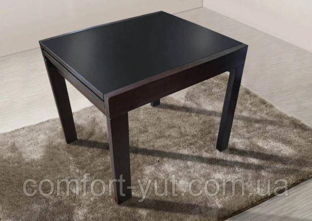 Стол обеденный Слайдер Венге  со стеклом  Черный,100(+100)*82см