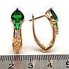 Серьги Xuping из медицинского золота, зеленые фианиты, позолота 18K, 23667       (1), фото 2