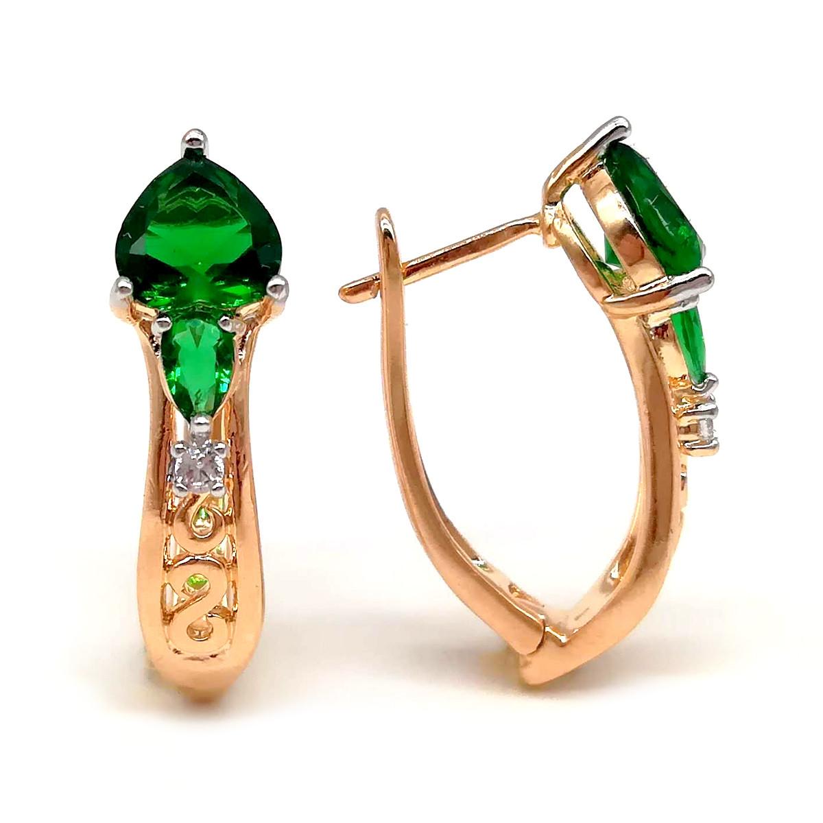 Серьги Xuping из медицинского золота, зеленые фианиты, позолота 18K, 23667       (1)