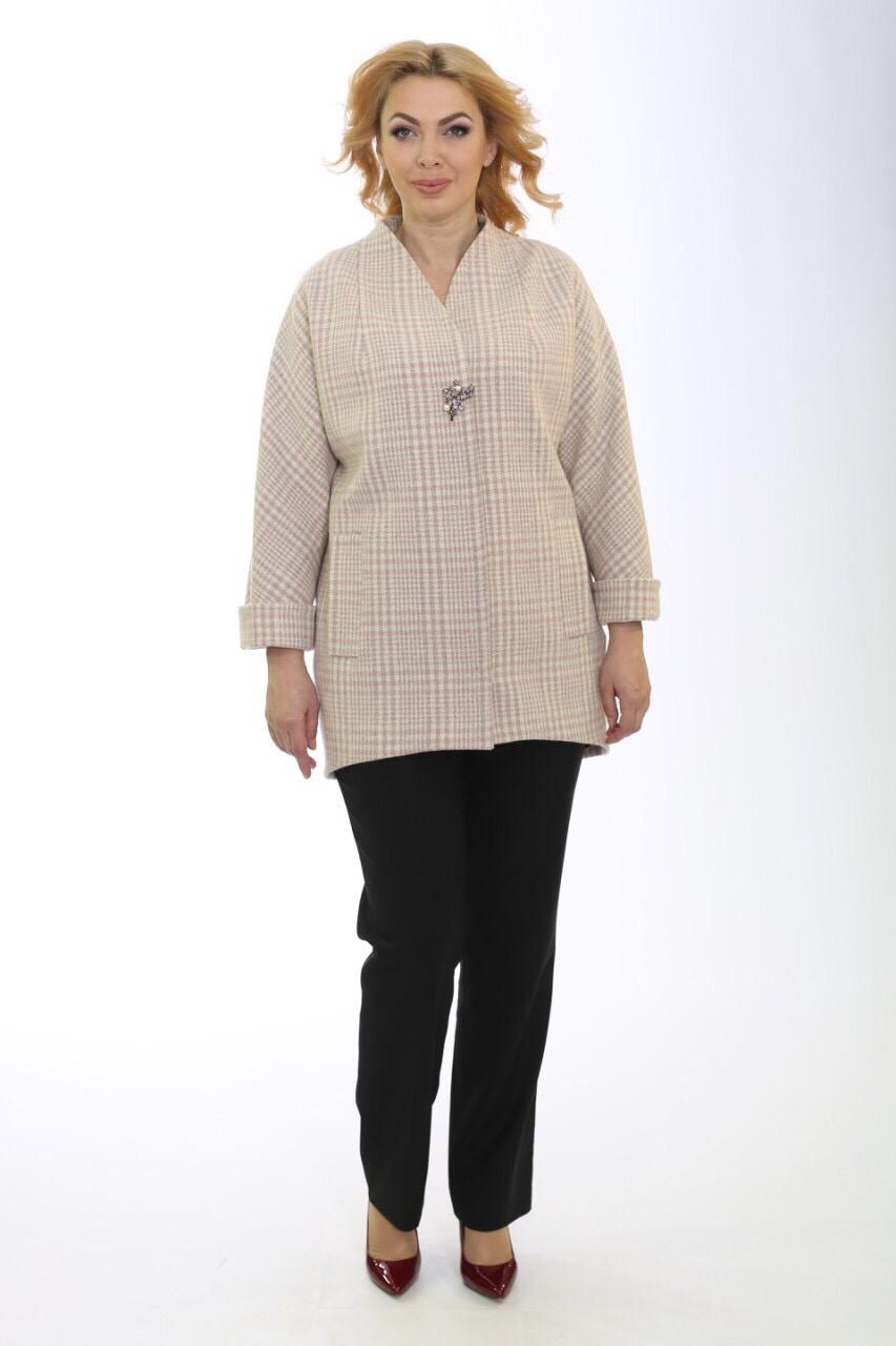 Жіноче демісезонне вкорочене пальто в клітинку шанель Ricco Кришталь
