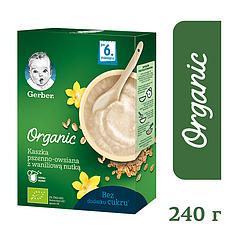 """Безмолочна каша Gerber® Organic """"Пшенично-вівсяна з ванільним смаком"""""""