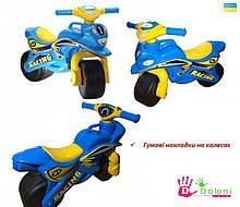 Мотоцикл музичний Doloni блакитний світло, толокар беговел каталка Долони мотобайк