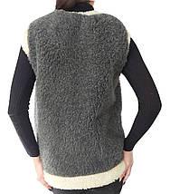 Меховая двойная жилетка из овчины серая Размер 52, фото 2