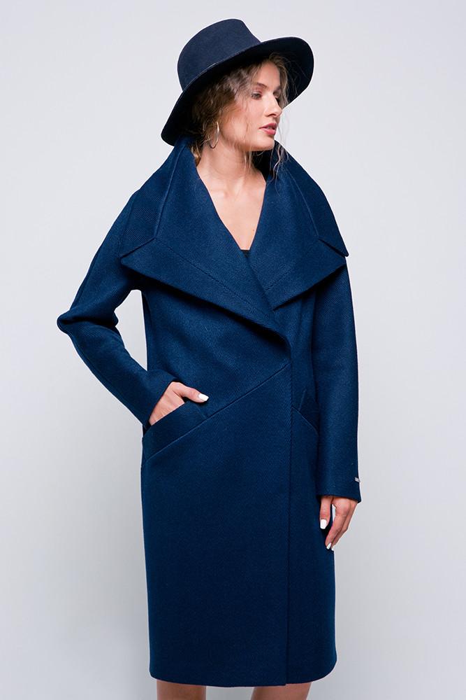 Жіноче демісезонне пальто синє твідове Vam 593