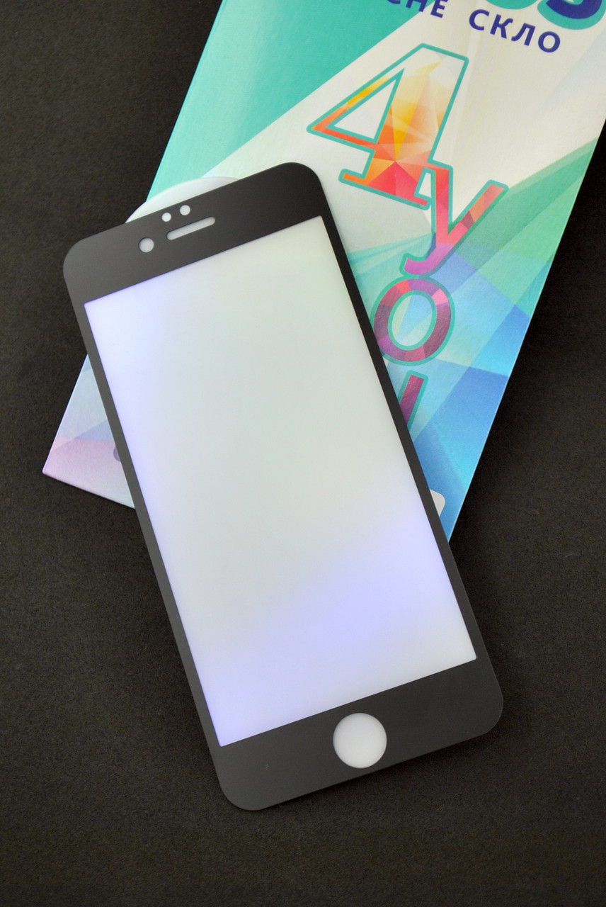 Защитное стекло iPhone 6 Anti Blue Matte Black 4you -