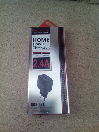 Зарядное устройство RedDax RDX-021 2.4A 2 Usb + кабель Micro Usb (большой блочек) Black, фото 2