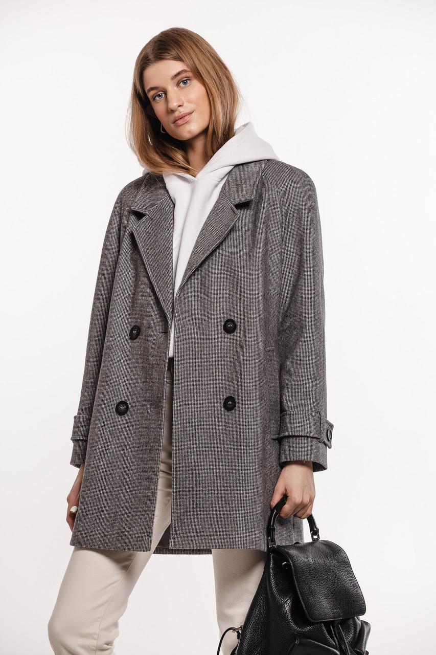 Укороченное  демисезонное женское серое пальто с поясом в мелкую клетку Raslov  M 321 50