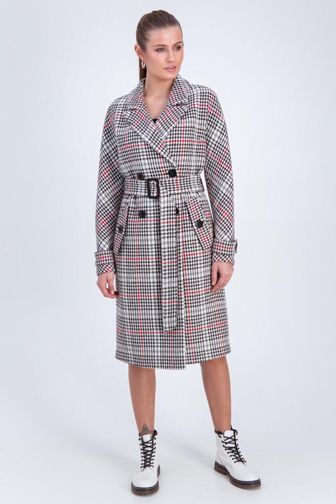Двобортне пальто в клітинку Vam М-657 50