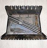 Мангал 3 мм на Вогник розкладний в валізу з чохлом і шампурами з дерев'яною ручкою 10 шт, фото 5