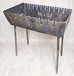 Мангал 3 мм на Вогник розкладний в валізу з чохлом і шампурами з дерев'яною ручкою 10 шт, фото 2