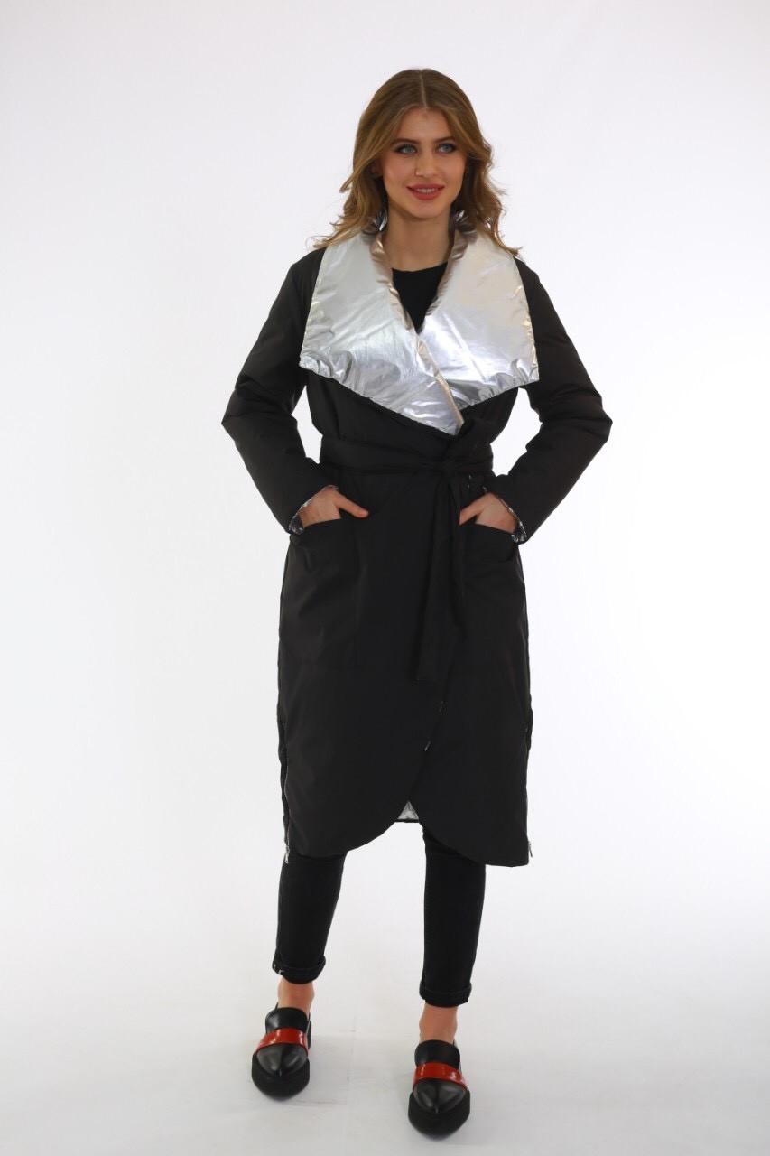 Плащевое демисезонное пальто-халат с фольгой Ricco Карат