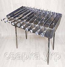 Мангал Огонёк раскладной в чемодан 3 мм с шампурами 10 шт ХВЗ