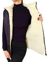Плащевая жилетка на овчине Черная Размер 52, фото 3