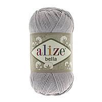 Турецкая пряжа 100% хлопок Белла, alize bella серого цвета 21