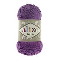 Турецкая пряжа 100% хлопок Белла, alize bella темно фиолетового цвета 45