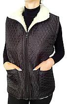 Плащевая жилетка на овчине Черная Размер 60, фото 2