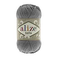 Турецкая пряжа 100% хлопок Белла, alize bella серого цвета 87