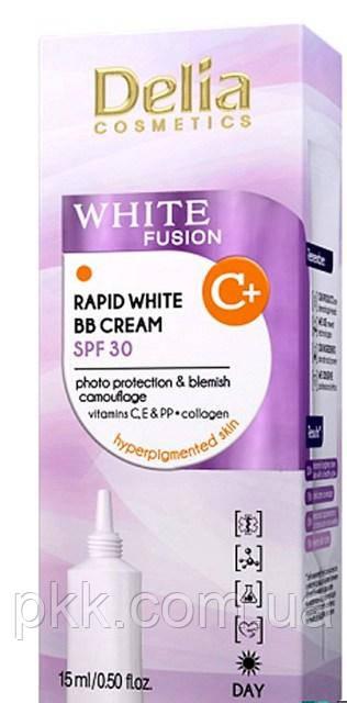Освітлюючий BB-крем для обличчя Delia Cosmetics , 15 мл WHITE FUSION C+ Rapid White BB Cream SPF 30