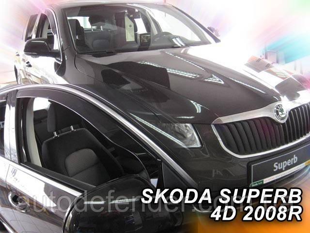 Дефлекторы окон (вставные!) ветровики Skoda Superb II 2008-2015 liftback 2шт., HEKO, 28331