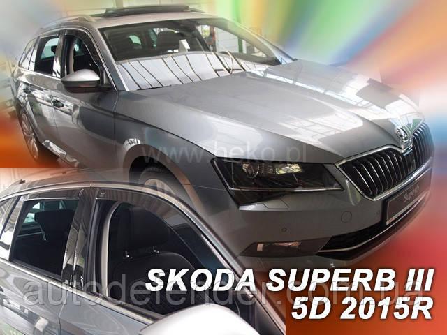 Дефлекторы окон (вставные!) ветровики Skoda Superb III 2015-2020, liftback 4шт., HEKO, 28346