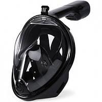 Полнолицевая панорамная маска для плавания Free Breath (L/XL) Черная с креплением для камеры