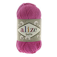 Турецкая пряжа 100% хлопок Белла, alize bella ярко розового цвета 489