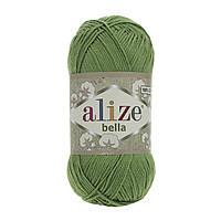 Турецкая пряжа 100% хлопок Белла, alize bella ярко зеленого цвета 492