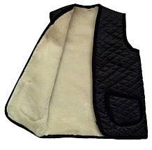 Жилетка плащевка на овчине Черная Размер XXL, фото 3